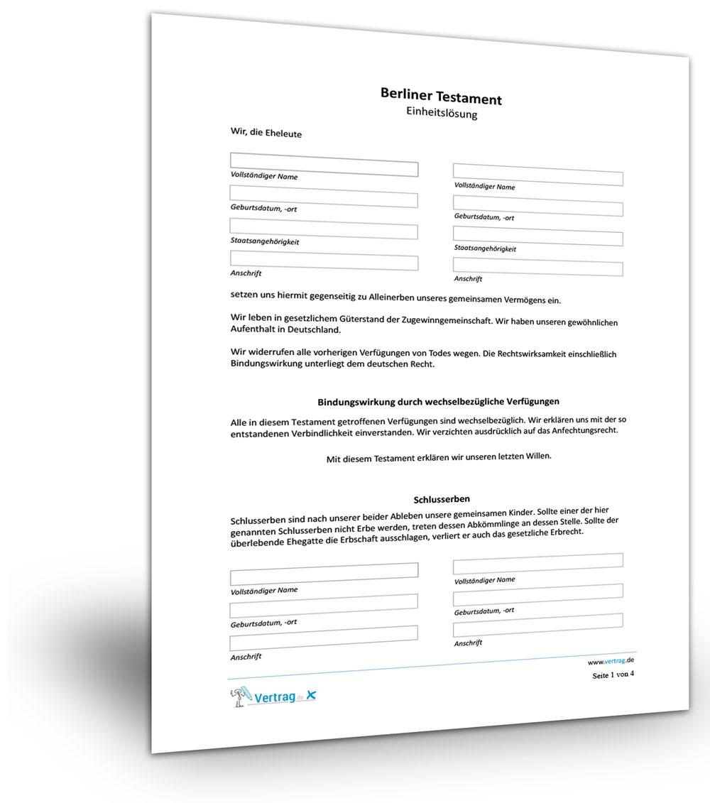 Berliner Testament Muster Patientenverfugung Formular